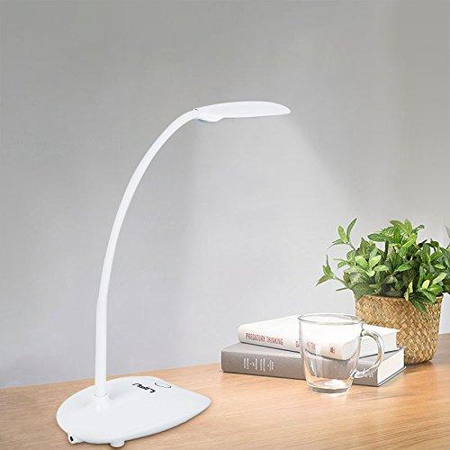 LED Schreibtischlampe, LIFU Leselampe Nachttischlampe 2 Farb- und 3 Helligkeitsstufen dimmbares Leselicht Touch Control Schwanenhals Tischlampe mit USB Anschluss Tischleuchte für Lesen, Arbeiten-Weiß