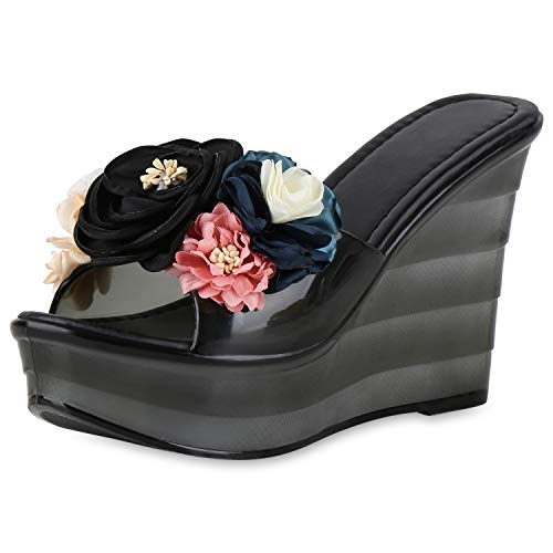SCARPE VITA Damen Sandaletten Plateau Pantoletten Keilabsatz High Heels Blumen 175499 Schwarz 36 -