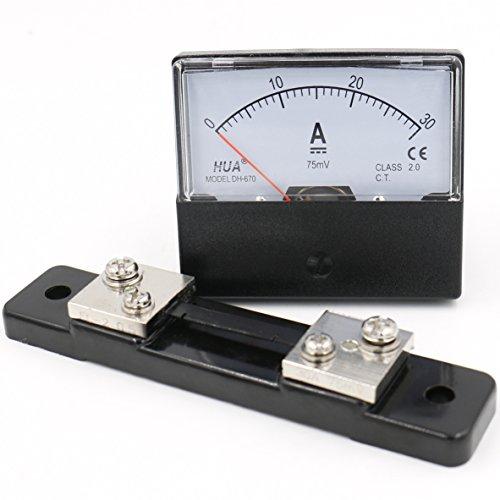 Heschen Rechteck-Panel montiert Stromzähler Amperemeter Tester DH-670 DC 0-30A Klasse 2,0 mit Shunt Amperemeter Shunt