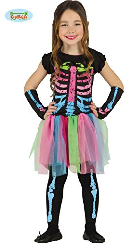 Tutu Kostüm Skelett - Guirca Skelett Kleid mit Tütü für Mädchen Halloween Kostüm für Kinder Rock bunt Gr. 98-146, Größe:128/134