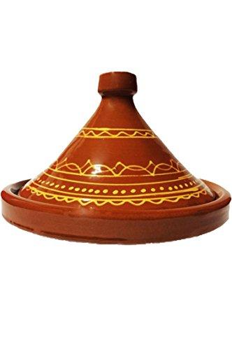 Marokkanische Tajine Topf zum Kochen | Schmortopf glasiert Ferhan Ø35cm 6-8 Personen | inklusive Rezept und Gebrauchsanweisung | ORIGINAL Tontopf handgetöpfert aus Marokko | Größe wählen