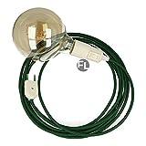 Fassung e27 mit Kabel und Stecker | textilkabel mit fassung und stecker | lampenfassung mit schalter als moderne Hängelampe (5 Meter, dunkelgrün)