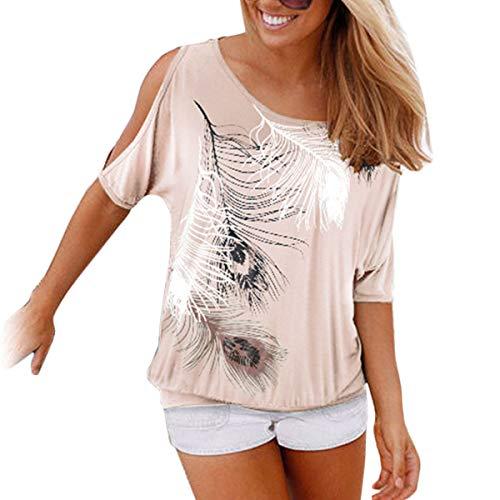 Vintage-print T-shirt Damen (Damen Sommer Kurzarm T-Shirt Federdruck Schulterfrei Rundhals Bluse Tops Oberteil (XL, Beige))