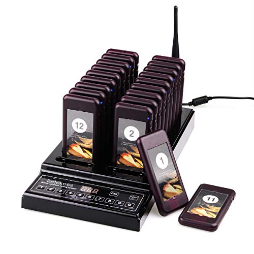 Retekess T112 Drahtloses Gästeruf- Kundenrufsystem Paging-System 20 Pager 999 Kanäle mit 20 Batterieauflade-Steckplätze für Restaurant Cafeteria Schnellimbiss (Schwarz) -