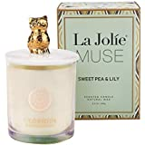 La Jolíe Muse Scented Candle Gift - Natural Soy Jar Candle with Decorative Owl, Sweet Pea & Lily