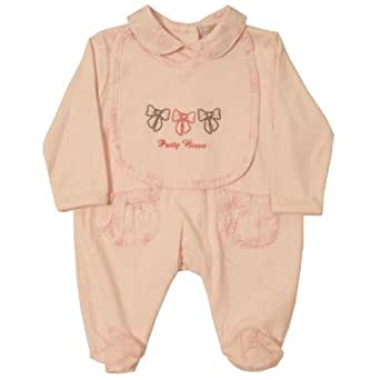 Dizzy Daisy Baby Girl's Pretty Bows Sleeper and Bib Pink 3 - 6 Months