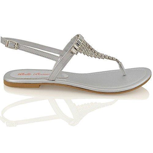 Essex Glam Damen Sandalette T-Spangen Zehentrenner mit groben Strasssteine Silber