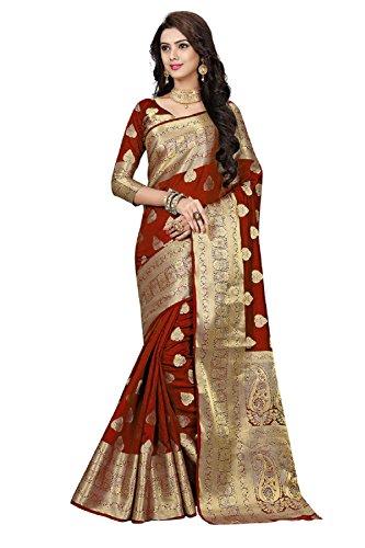 Ramapir Fashion Women's Banarasi Silk Saree (B_FB_NEW_SOHAM MAROON_Maroon_Free Size)