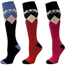 Equine Couture Femmes Hadley Mi-Bas Chaussettes - Paquet de 3, Couleur- Marine/Rouge/Hot Pink Taille - la Norme