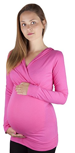 Mija – Chemise décontractée Maternité est soins ? manches longues avec capuche 3095 pink