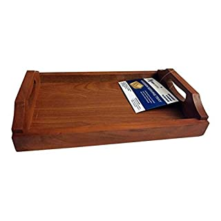 Wooden Serving Tray with handles 30CM X 21CM X 6CM Excellent Quality by Amwares