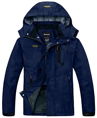 Wantdo giacca con cappuccio impermeabile antivento escursioni uomo marina medium