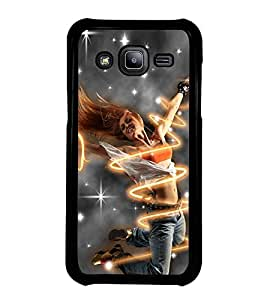 Fuson Premium 2D Back Case Cover Dancing girl With yellow Background Degined For Samsung Galaxy J2::Samsung Galaxy J2 J200F