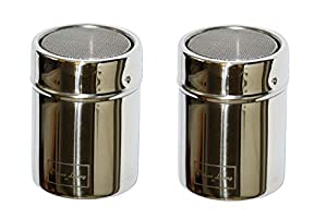 Deluxe Living Ltd 2 x Stainless Chocolate Shaker Icing Sugar Cinnamon Salt Cocoa Flour Coffee Sprinkler Sprinkles Sifter Mesh Top with Stay Fresh System Lid