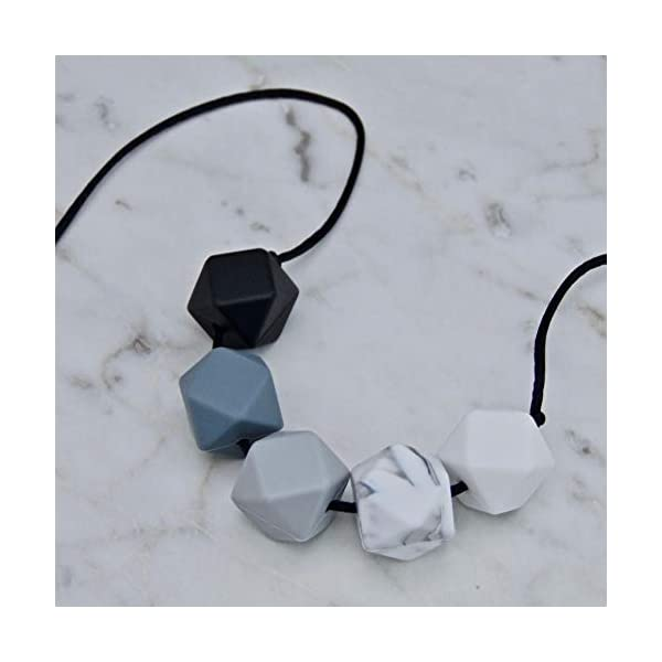 Monochrome Silicone Teething Necklace for Breastfeeding and Baby Wearing Nursing Jewellery BPA Free Hexagon Bead Black and White 2