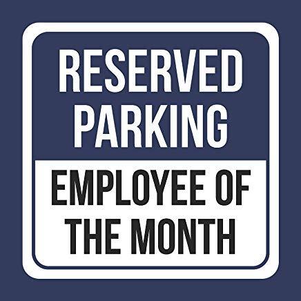 JeremyHar75 Reserved Parking Employee of The Month Blau Quadratisches Blechschild Küche & Esszimmer Hausdeko Essen Getränke Bar 30 cm x 30 cm