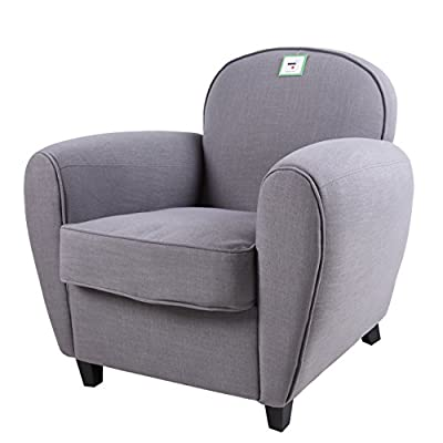 FoxHunter Linen Fabric Tub Chair Armchair ACF2094 Sofa Dining Living Room Lounge Office Modern Furniture Grey New produced by KMS - quick delivery from UK.