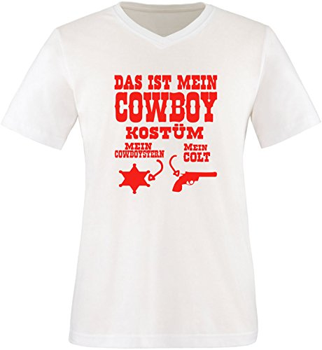 Luckja Das ist mein Cowboy Kostüm Herren V-Neck T-Shirt Weiß/Rot