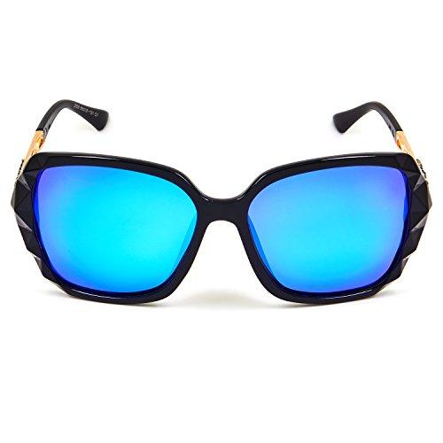 b838bfc1ea LECKIRUT Donna Ombra Classico Oversize Polarizzati Occhiali da Sole 100% UV  Protezione Occhiali nero montatura blu lente