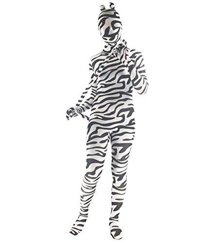 HAOBAO Unisex Lycra Spandex Zebra Druck Ganzkörper Anzug Zentai Cosplay Karikatur Kostüm Für Erwachsene, Kind, Light Grey