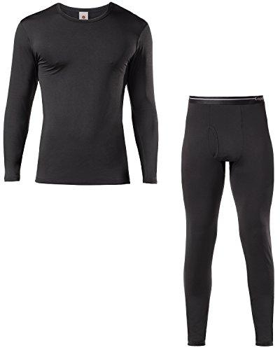 LAPASA Ensemble de Sous-vêtements Thermiques Homme (Haut Maillot de Corps et Pantalon bas) Ultra Light - Hiver Sport Montagne M11&M57 taille EU S - Noir