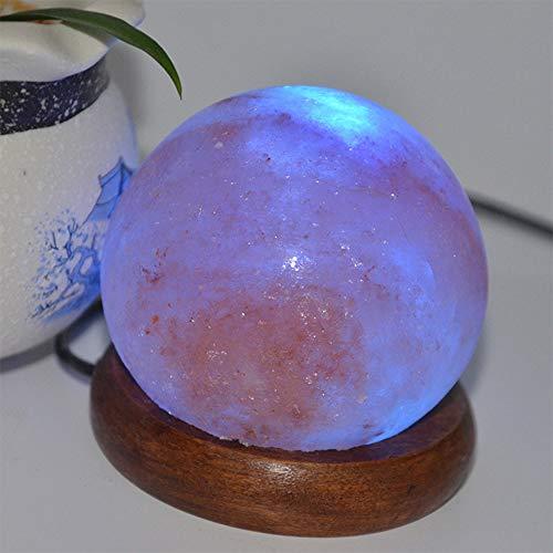 OOFAY LIGHT Salz Lampe natürlichen Kristall geschnitzt USB Himalaya Crystal Rock Salz Lampe mit runden Holz Base Crystal Anion Salz Lampe Reinigung frische Luft Salz Lampe