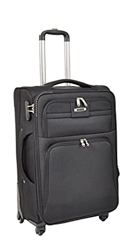 4 Wheel Soft Suitcase Lightweight Spinner Travel Trolley Expandable Luggage H910 Black (MEDIUM | 68x43x27cm/