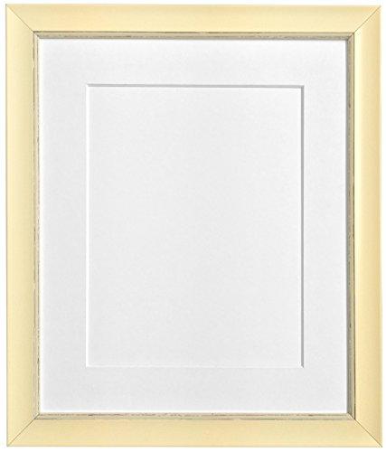 Frames by Post 10 x 8 Zoll Nordic Bild-/Fotorahmen für 7 x 5 Zoll großes Bild mit weißem Passepartout, Antique-Look, Cremefarben