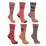 6 Paar Mädchen Lange dicke Winter-Welly Socks Größe Eur 23-26