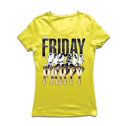 irt Es ist Freitag, Lass Uns feiern, 60s 70s 80s Disco, Partykleidung (Large Gelb Mehrfarben) ()