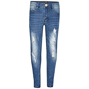852b40005a70 A2Z 4 Kids Kids Boys Skinny Denim Ripped Stretchy Pants - Boys Jeans M1070  Light Blue