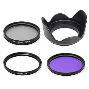 52mm Sonnenblende + UV + CPL + FLD Filter Kit für DSLR Nikon D7100 D7000 D5200 D5100 D5000 D3200 D3100 D3000 D90 D80 D60 LF135