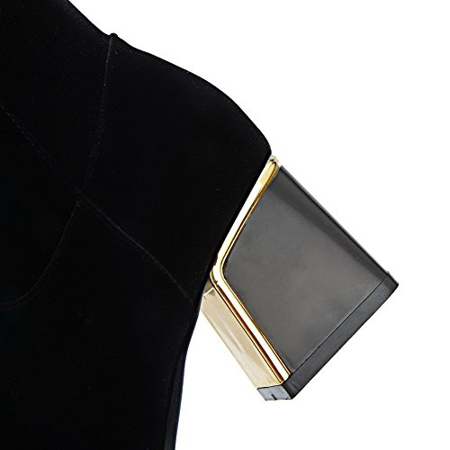 AllhqFashion Damen Mattglasbirne Hoch-Spitze Eingelegt Reißverschluss Mittler Absatz Stiefel Schwarz