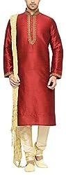 Indian Poshakh Men's Silk Sherwani (1199_42, 42, Red and Beige)