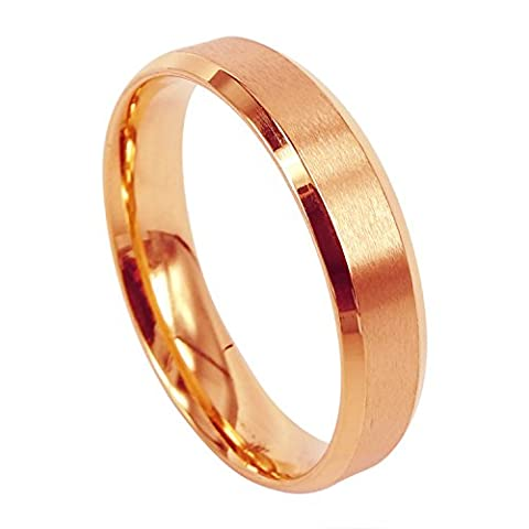 Everstone Women Titanium Ring Rose Gold Matte Wedding Band Anniversary Engagement Ring Valentine's Day Gift 5mm Size