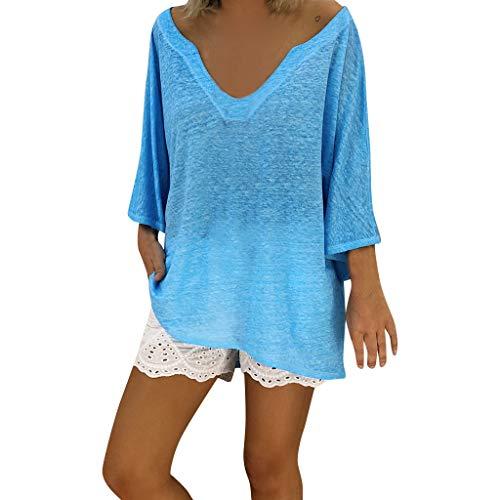 b0bfaa50a4e friendGG Sommerkleid Leinen Kleider Damen V-Ausschnitt Strandkleider  Einfarbig A-Linie Kleid Boho Knielang