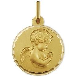 ANGE RAPHAEL PRIANT - Médaille Religieuse - Or 9 carats - Hauteur: 16 mm - www.diamants-perles.com