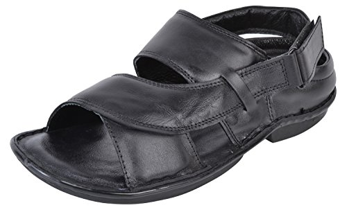 Onlinemaniya Men's Black Leather Outdoor Sandals - 7 UK