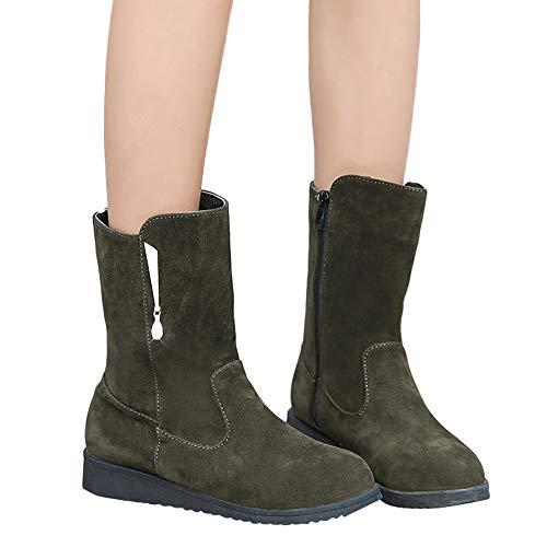 Stiefel Damen Boots Frauen Flache Rhinestone Booties Middle Tube Wildleder Martin Stiefel Schuhe Reißverschluss Boots ABsoar