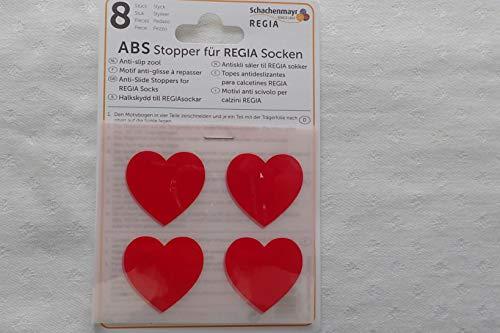 Plush ABS Stopper für Regia Socken - Herzen in rot