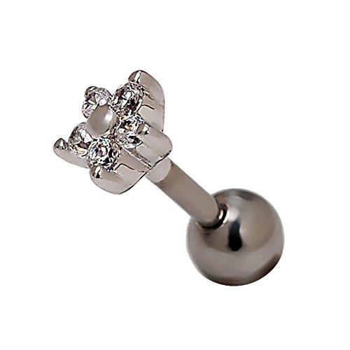 lanshang 16g 4,7millimètres serein Fleur Crystal Star Cartilage de l'oreille Piercing Barbell Helix fixe les boucles d'oreilles Piercing 1/4(1Paire) 2pcs bianca Stelle