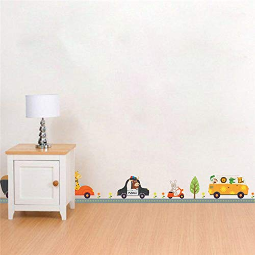 Cute Animal Driving Car Road Cartoon Wall Stickers Baseboard Children Room Bedroom Living Room Corridor Corner Decoration Decals (Spiele Driving Für Mädchen)