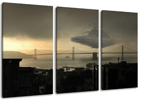 Star Destroyer sur Golden Gate Bridge, STAR WARS motif, 3 pièces sur toile (taille totale: 120x80 cm), l'art de haute qualité d'impression que murale. Moins cher que une peinture à l'huile! ATTENTION NO affiches ou affiche!