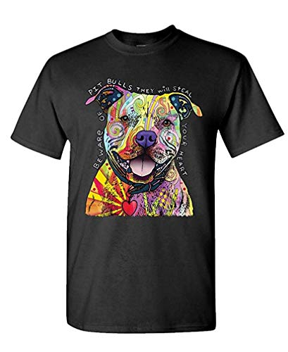 Beware Pit Bulls Dean Russo Dog Canine - Mens Cotton T-Shirt L