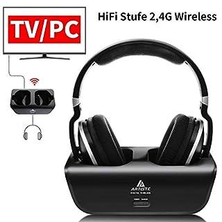 Artiste ADH300 Wireless TV Kopfhörer, 2.4GHz UHF/RF Over-Ear Digital Stereo Kopfhörer für TV, 100ft Distanz Sender Wiederaufladbare Ladestation