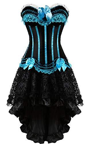 Korsetts Kleid Mit Rock Unregelmäßiges Set Burlesque Kostüme Vintage Gestreift 8068 7056 blue1 L (Burlesque Kostüm Geschichte)