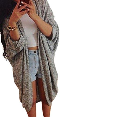 FEITONG Para mujer mayor de los zapatos Knit de la manga del suéter capa de la chaqueta de la rebeca (XL, gris)