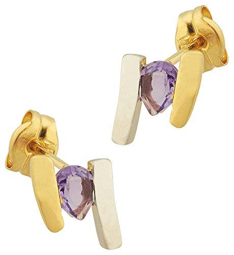 Orleo - REF9762 : Boucles d'oreille Femme Or 18K bicolore et Améthyste
