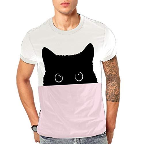 e2085162e4 Camiseta de Manga Corta con Estampado de Cabeza Animal Moon Planet 3D de  Moda para Hombre
