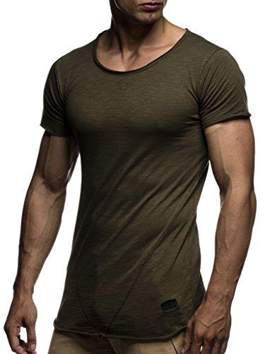 LEIF NELSON Herren Sommer T-Shirt Rundhals-Ausschnitt Slim Fit Baumwolle-Anteil | Moderner Männer T-Shirt Crew Neck Hoodie-Sweatshirt Kurzarm lang | LN6281 Khaki X-Large